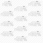 Discount sticker templates with different percentages — ストックベクタ