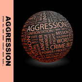AGGRESSION. Globe with different association terms. — Stock Vector