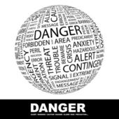 DANGER. Globe with different association terms. — Vetorial Stock