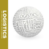 LOGISTICS. Globe with different association terms. — Stock Vector
