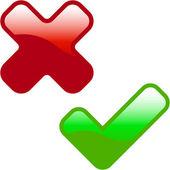 Przyciski zatwierdzonych i odrzuconych. — Wektor stockowy
