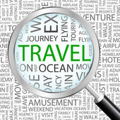 TRAVEL. Magnifying glass over background with different association terms. — Stockvektor