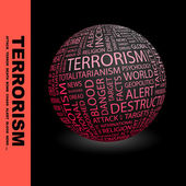 TERRORISM. Globe with different association terms. — Stock Vector