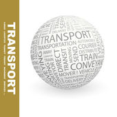 TRANSPORT. Globe with different association terms. — Stock Vector