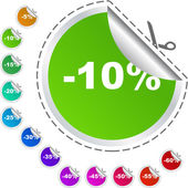 Discount label templates with different percentages — Stock Vector