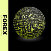 FOREX. Globe with different association terms. — Stock Vector