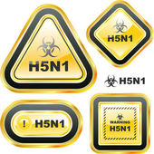 H5N1. Warning sign collection. — Stock Vector