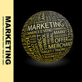 MARKETING. Globe with different association terms. — Stockvektor