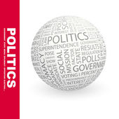 POLITICS. Globe with different association terms. — Stock Vector