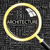 Architecture. loupe sur fond transparent avec des termes différents association. — Vecteur
