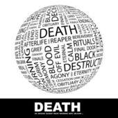DEATH. Globe with different association terms. Wordcloud vector illustration. — Stock Vector