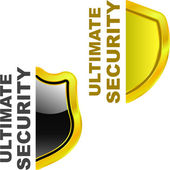Ultimate secutity. Vector shields for design — Stock Vector