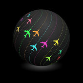 Globe with plane signs. — Stock Vector
