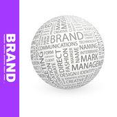 бренд. глобус с различными ассоциации термины. — Cтоковый вектор