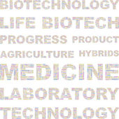 BIOTECHNOLOGY. Seamless vector pattern with word cloud. — Stock Vector