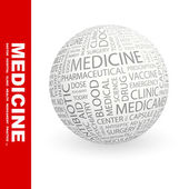 MEDICINE. Globe with different association terms. — Stock Vector