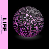 LIFE. Word collage on black background. — Stock Vector
