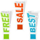 Befreit, Verkauf und beste. — Stockvektor