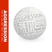 AGGRESSION. Globe with different association terms. — Stockvektor