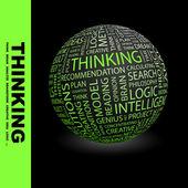 Myślenie. globus z stowarzyszenie różnych warunków. — Wektor stockowy