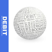 DEBIT. Globe with different association terms. — Stock Vector