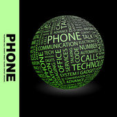 PHONE. Globe with different association terms. — Vetorial Stock