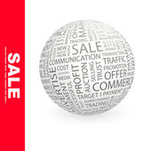 SALE. Word collage. Globe with different association terms. — Stock Vector