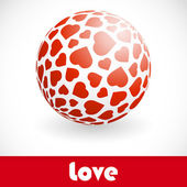 Love. Globe with heart mix. — Stock Vector