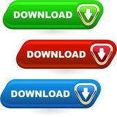 Download button set. Vector set for web. — Stock Vector