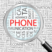 PHONE. Magnifying glass over seamless background — Stockvektor