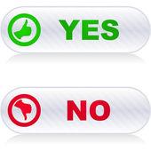 Sí y sin botones. — Vector de stock