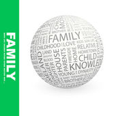 FAMILY. Globe with different association terms. — Stock Vector