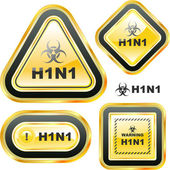 H1N1. Swine flu warning sign collection. — Stock Vector