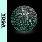 Yoga. globus mit verschiedenen verband bedingungen. — Stockvektor