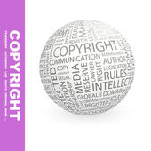 COPYRIGHT. Globe with different association terms. — Stock Vector