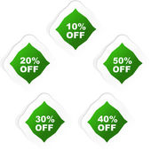 Discount label templates with different percentages — Stockvektor