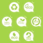 Set of eco friendly, natural and organic signs. — Stock Vector