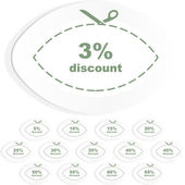 Discount sticker templates with different percentages — Stockvektor