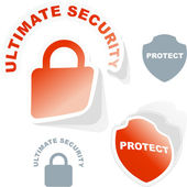 Ultimate security. Sticker set. — Stock Vector