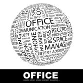 OFFICE. Globe with different association terms. — Stock Vector