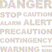 DANGER. Word collage on white background. Vector illustration. — Stock Vector