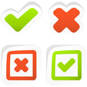 Approved and rejected buttons. Vector set. — Vector de stock