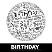 Födelsedag. världen med olika association villkor. — Stockvektor