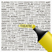 THEATRE. Highlighter over background with different association terms. — Stock Vector