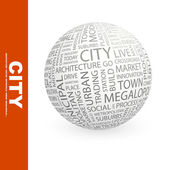 CITY. Globe with different association terms. — Stock Vector