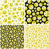 Seamless pattern with smile face. — Stock Vector