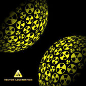 Radioactive globes. Vector illustration. — Stockvektor