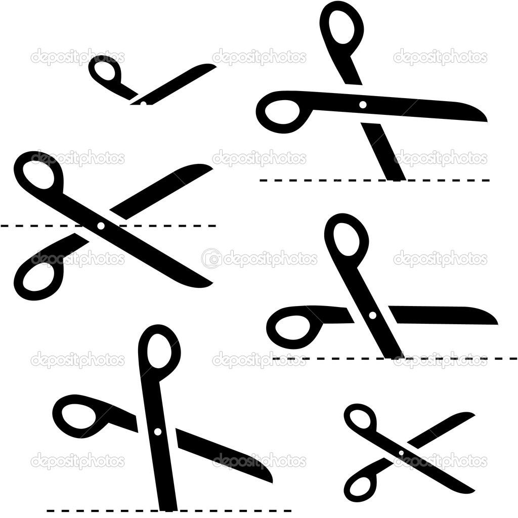 Vector scissors with cut lines — Stock Vector #7160853