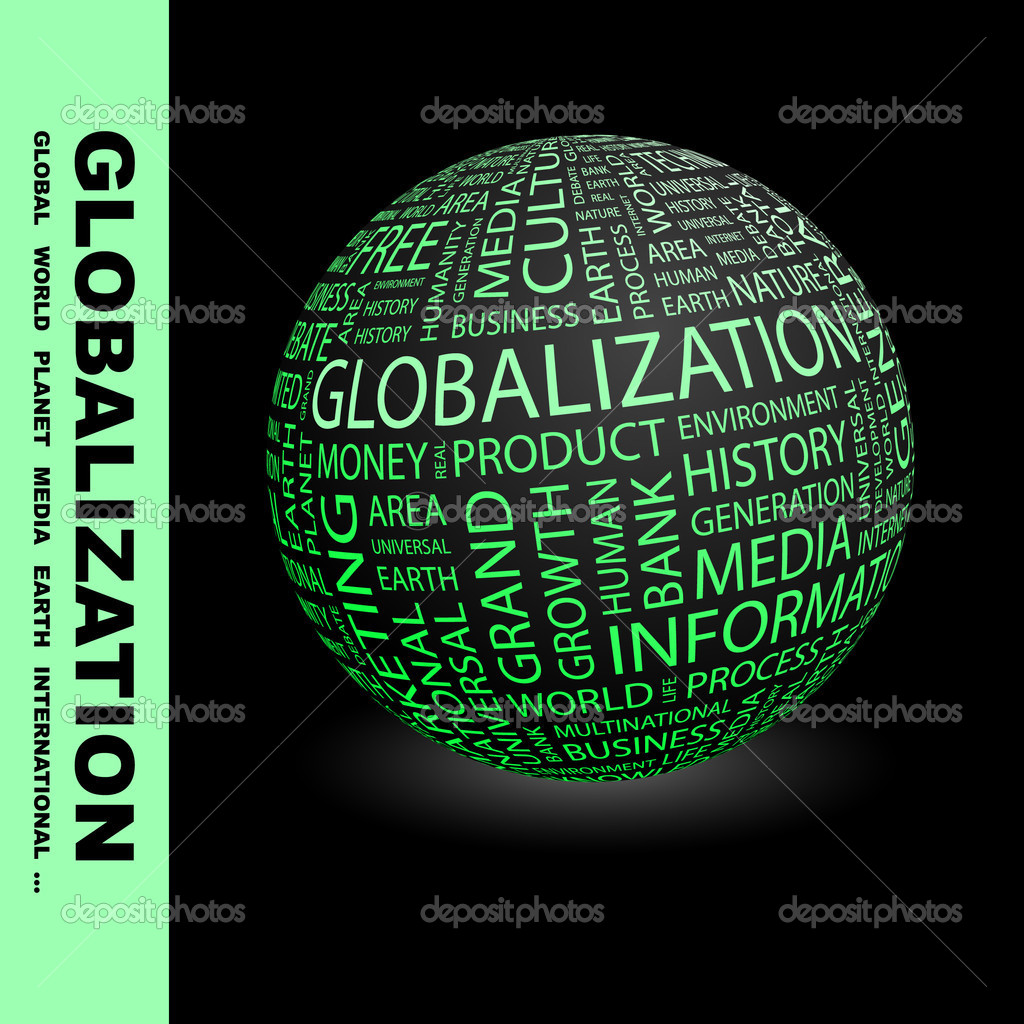 GLOBALIZATION. Globe with different association terms.  Stock Vector #7162407