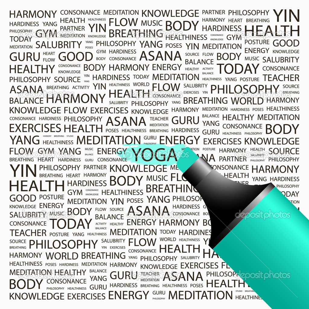 YOGA. Highlighter over background with different association terms. Vector illustration. — Stock Vector #7163759